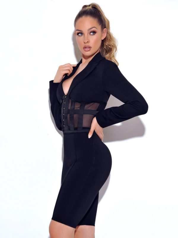 Black Stretch Crepe Blazer